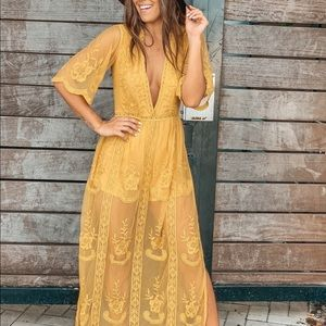 Mustard maxi with embroidered detail